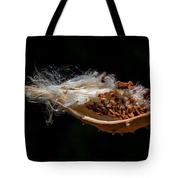 Pearl Milkweed Pod Split Open Tote Bag