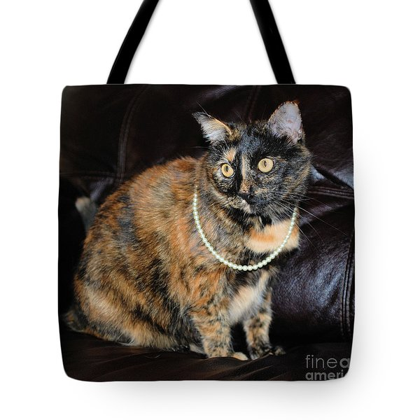 Tote Bag featuring the photograph Pearl With Pearls by Oksana Semenchenko