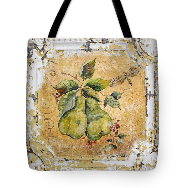 Pears And Dragonfly On Vintage Tin Tote Bag