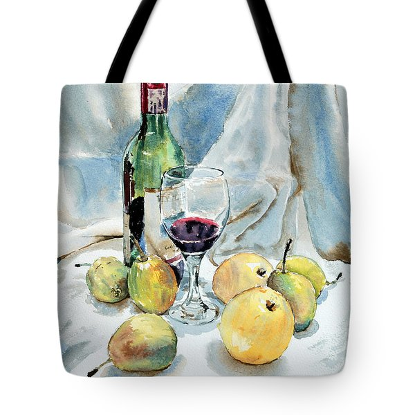 Pears And Wine Tote Bag by Joey Agbayani