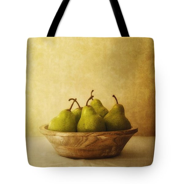 Pears In A Wooden Bowl Tote Bag by Priska Wettstein