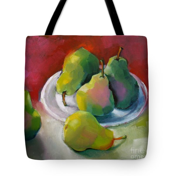 Tote Bag featuring the painting Pears by Michelle Abrams