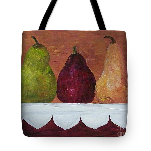 Tote Bag featuring the painting Pears On Parade   by Eloise Schneider