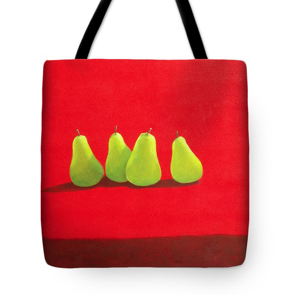 Pears On Red Cloth Tote Bag by Lincoln Seligman