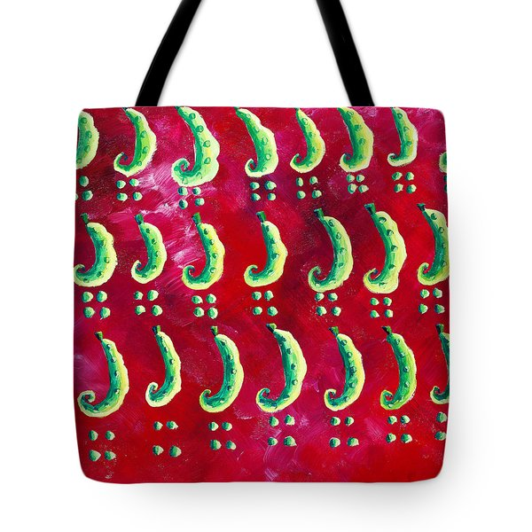 Peas On A Red Background Tote Bag by Julie Nicholls