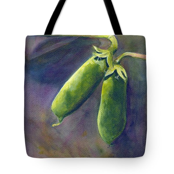 Tote Bag featuring the painting Peas On The Vine by Phyllis Howard