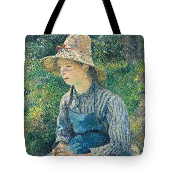 Peasant Girl With A Straw Hat Tote Bag by Camille Pissarro