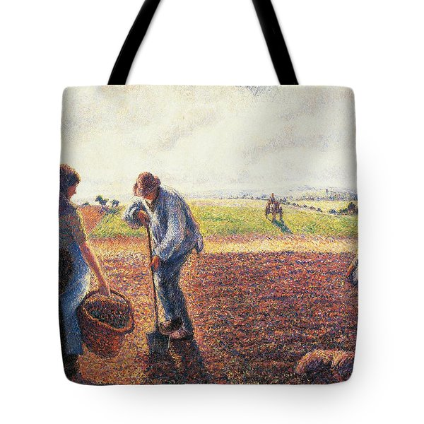 Peasants In The Field Eragny Tote Bag by Camille Pissarro