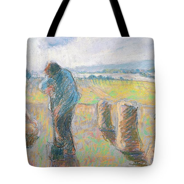 Peasants In The Fields Tote Bag by Camille Pissarro