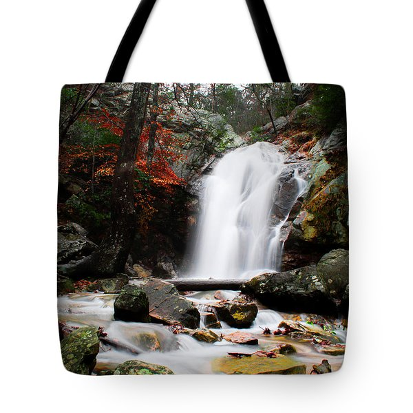 Peavine Falls In Autumn Tote Bag by Shelby  Young