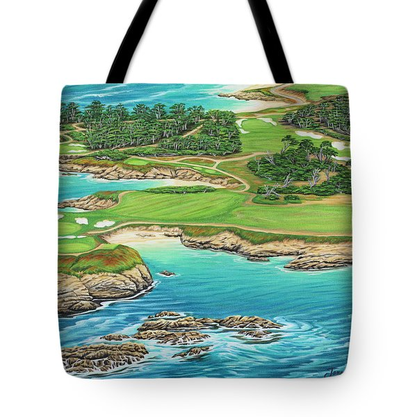 Tote Bag featuring the painting Pebble Beach 15th Hole-south by Jane Girardot