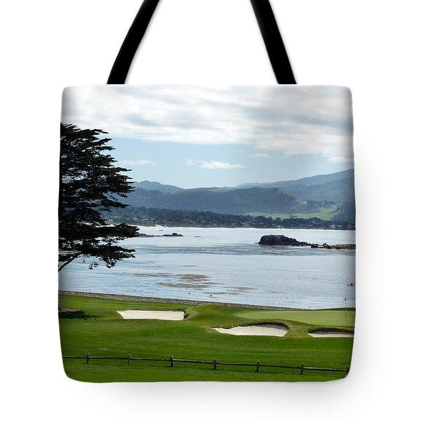 Pebble Beach 18th Green Carmel  Tote Bag by Jeff Lowe