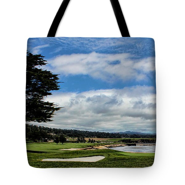 Pebble Beach - The 18th Hole Tote Bag by Judy Vincent