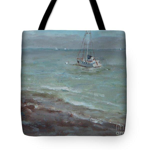Pebbly Beach Sail Boat Tote Bag