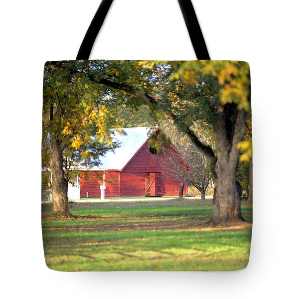Tote Bag featuring the photograph Pecan Orchard Barn by Gordon Elwell