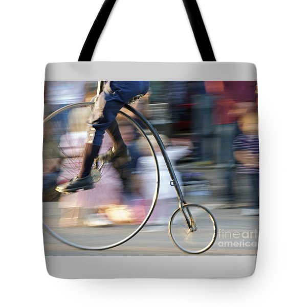 Pedaling Past Tote Bag by Ann Horn