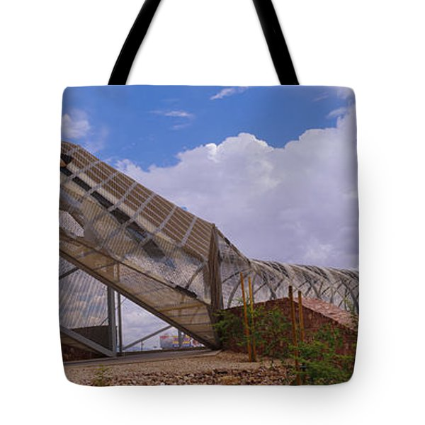 Pedestrian Bridge Over A River, Snake Tote Bag