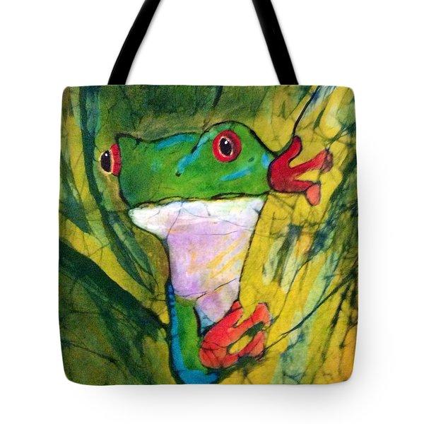 Peek-a-boo Frog Tote Bag