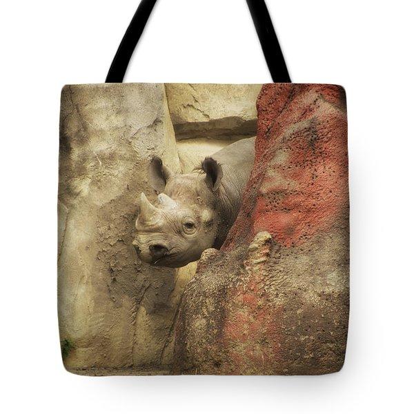 Peek A Boo Rhino Tote Bag by Thomas Woolworth