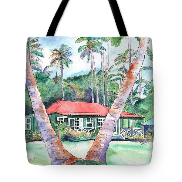 Tote Bag featuring the painting Peeking Between The Palm Trees 2 by Marionette Taboniar