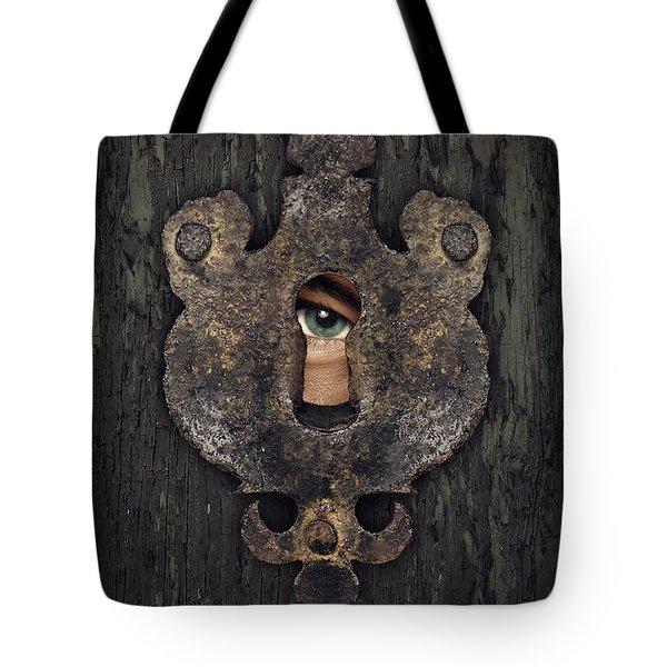 Peeking Eye Tote Bag by Carlos Caetano