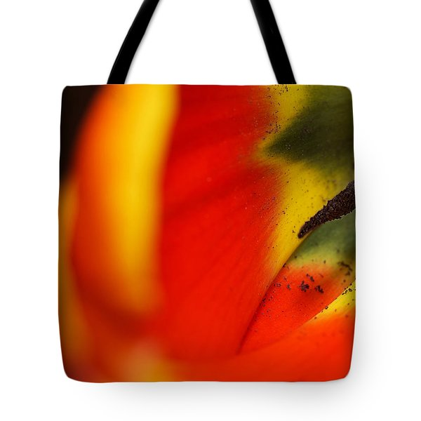 Tote Bag featuring the photograph Peering Into The Heart Of A Tulip by Lisa Knechtel