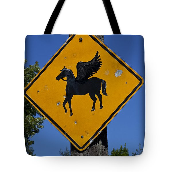 Pegasus Road Sign Tote Bag by Garry Gay
