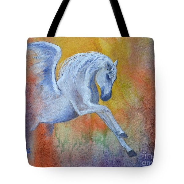 Tote Bag featuring the painting Pegasus by Suzette Kallen