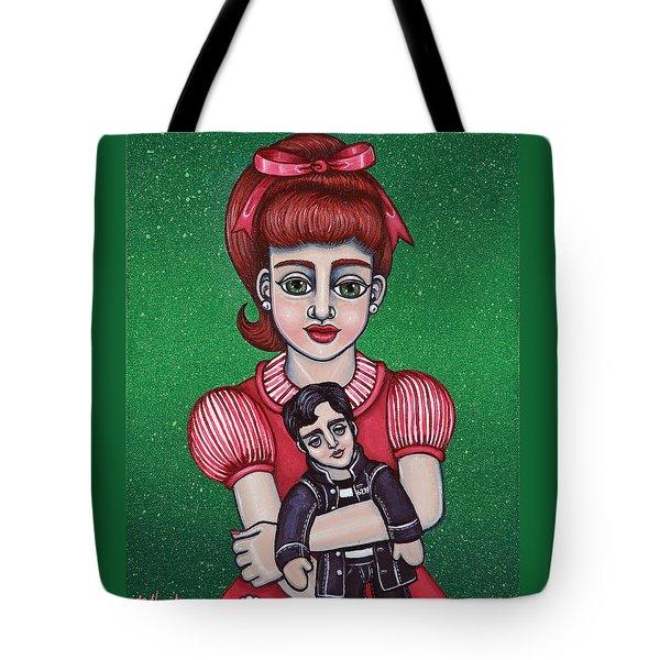 Peggy Sue Holding The King Tote Bag by Victoria De Almeida