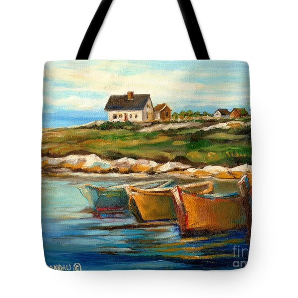 Peggys Cove With Fishing Boats Tote Bag by Carole Spandau