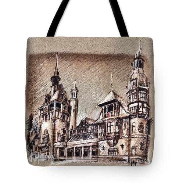 Peles Castle Romania Drawing Tote Bag