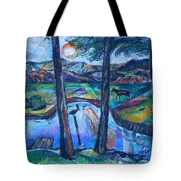 Pelican And Moose In Landscape Tote Bag
