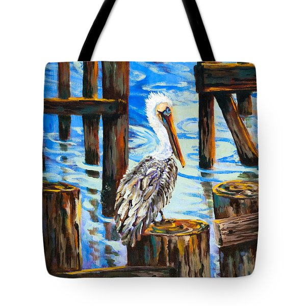 Pelican And Pilings Tote Bag by Dianne Parks