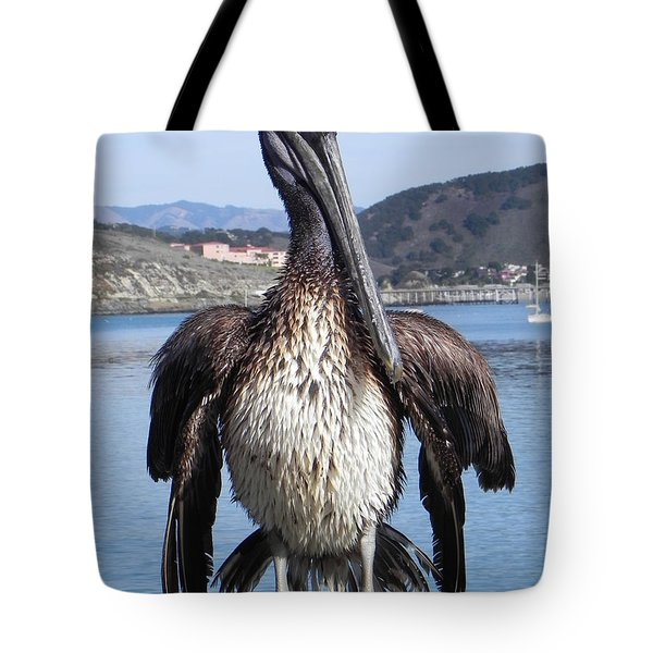 Pelican At Avila Beach Ca Tote Bag by Kathy Churchman