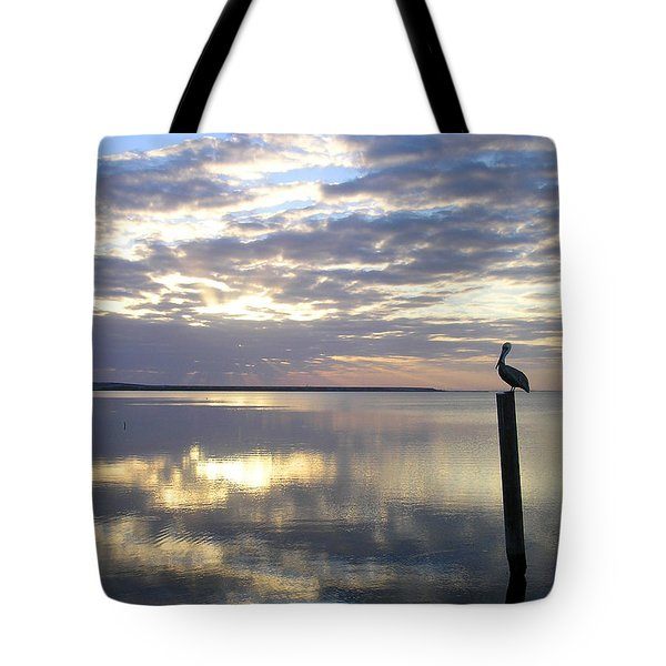 Pelican At Sunset Tote Bag