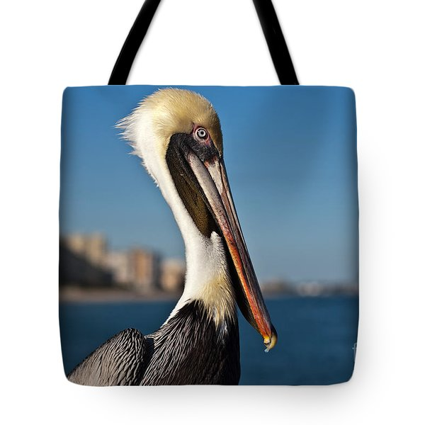 Tote Bag featuring the photograph Pelican by Barbara McMahon