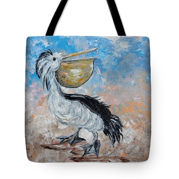 Tote Bag featuring the painting Pelican Beach Walk - Impressionist by Eloise Schneider