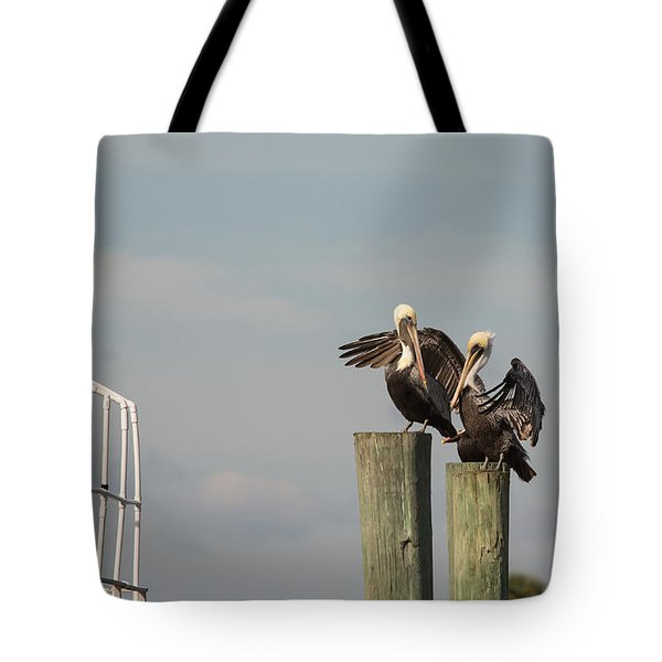 Tote Bag featuring the photograph Pelican Buddies by John M Bailey