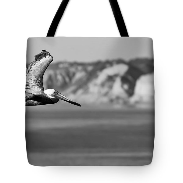 Pelican In Black And White Tote Bag by Sebastian Musial