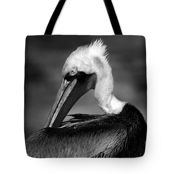Pelican In Waves Tote Bag