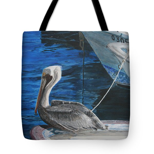 Pelican On A Boat Tote Bag