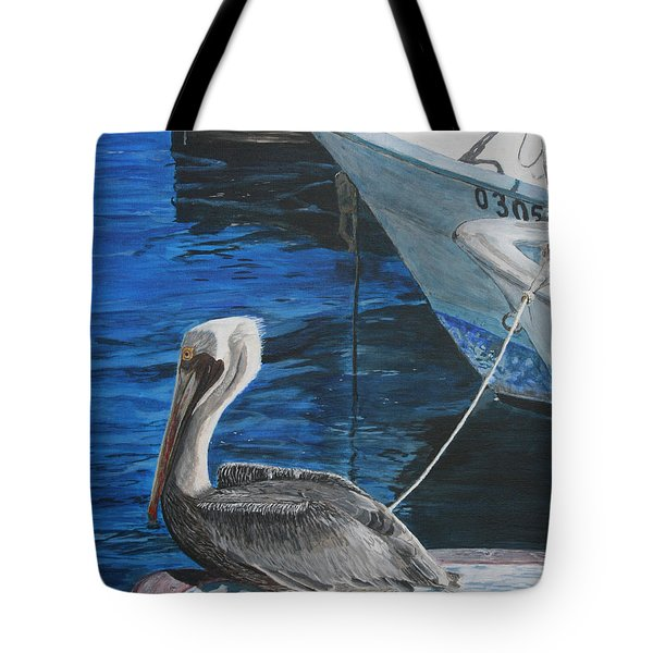 Tote Bag featuring the painting Pelican On A Boat by Ian Donley