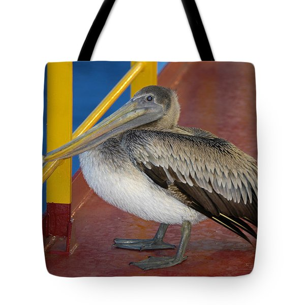 Pelican On A Ship Deck Tote Bag