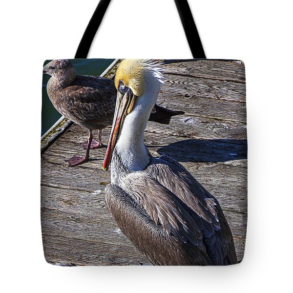 Pelican On Dock Tote Bag by Garry Gay