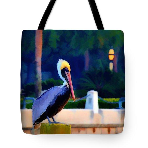 Pelican On Post Artistic Tote Bag by Dan Friend