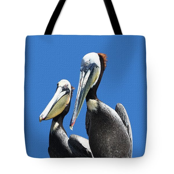 Tote Bag featuring the photograph Pelican Pair by Tom Janca