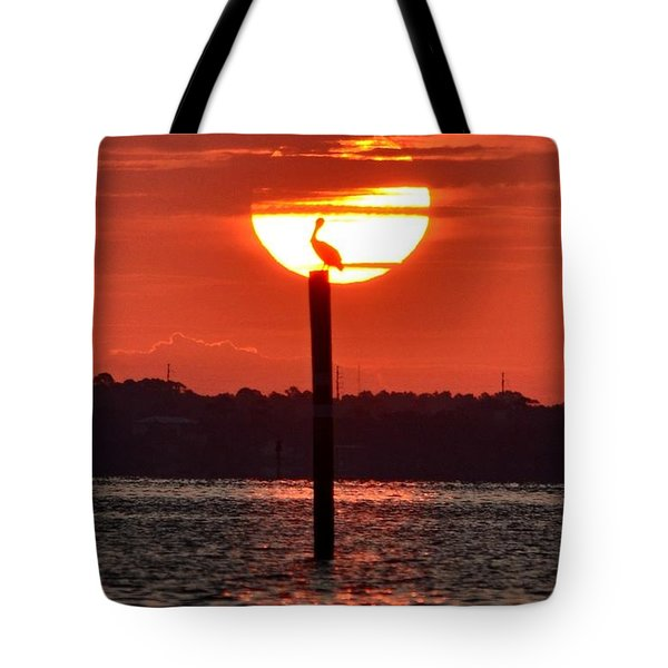 Pelican Silhouette Sunrise On Sound Tote Bag by Jeff at JSJ Photography