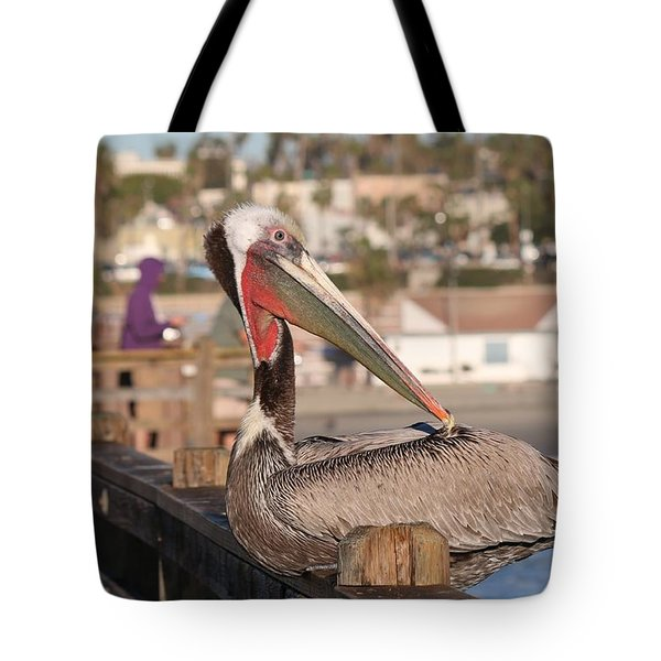 Pelican Sitting On Pier  Tote Bag