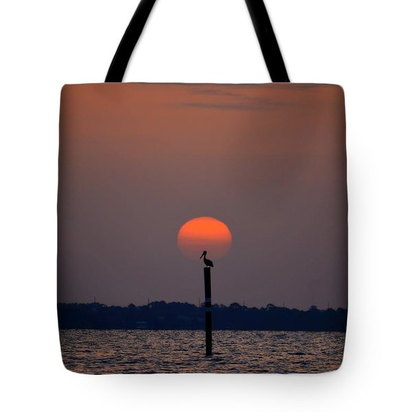 Pelican Sunrise Silhouette On Sound Tote Bag by Jeff at JSJ Photography