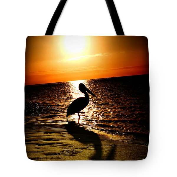 Tote Bag featuring the photograph Pelican Sunrise by Yew Kwang